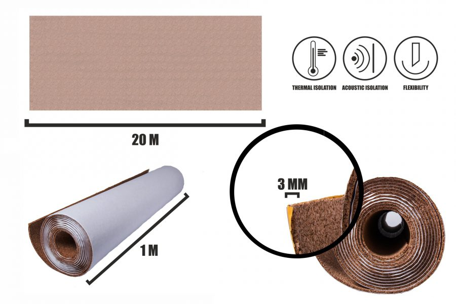 Selbstklebender Kork Rollen 3mm(20m)